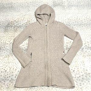 Athleta Long Cardigan Hoodie Size XXS Cable Knit